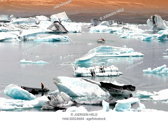 Iceland, Jokulsarlon Glacial Lagoon , Icebergs melting, sunset, near vulcano Jatnajoekull