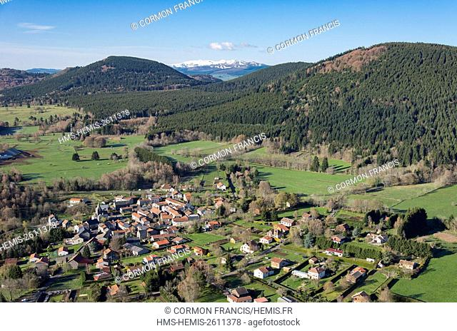 France, Auvergne, Puy de Dome, the Regional Natural Park of the Volcanoes of Auvergne, Laschamp, south of Chaine des Puys and the snow covered Sancy in the...