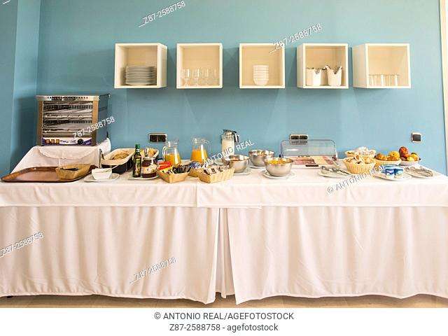 Breakfast buffet, Hotel Encasa, Almansa, Albacete province, Castilla-La Mancha, Spain