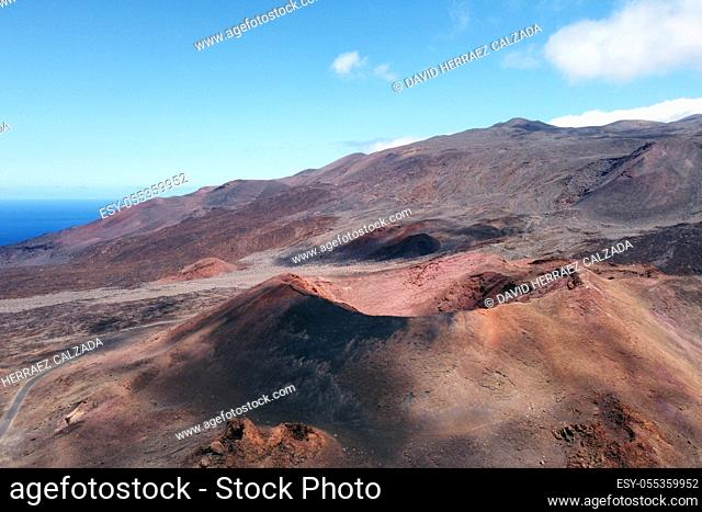 Amazing aerial view of a volcanic crater in El Hierro island, Canary Islands, Spain. High quality photo