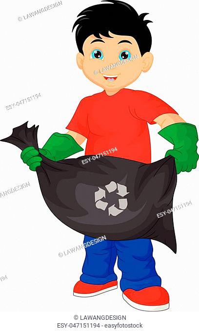 vector illustration of cute boy holding garbage bag