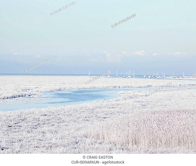 Frosted coastline and distant yachts, Heswall, Wirral, England, UK