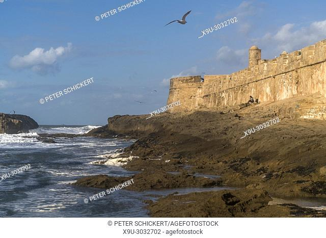 city wall on the coast in Essaouira, Kingdom of Morocco, Africa