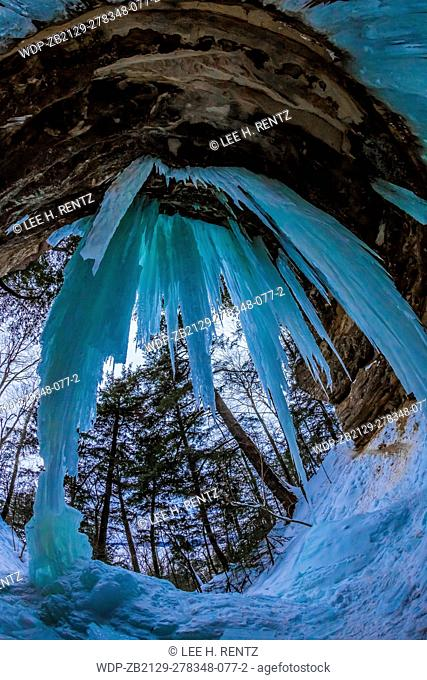 Ice daggers at The Amphitheater, an ice formation used by ice climbers in the Sand Point area of Pictured Rocks National Lakeshore in the Upper Peninsula of...