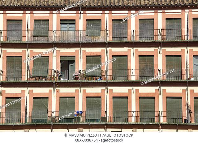 Detail of the buildings in the Corredera square, Cordoba, Spain