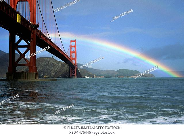 A clearing storm yields a rainbow over the Golden Gate Bridge in San Francisco, California, United States of America