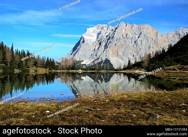 Austria, Tyrol, Ehrwald, Seebensee, Zugspitze, mirroring, water surface, Zugspitz massif, lake, mountain lake, mountains, alps, Wetterstein Mountains