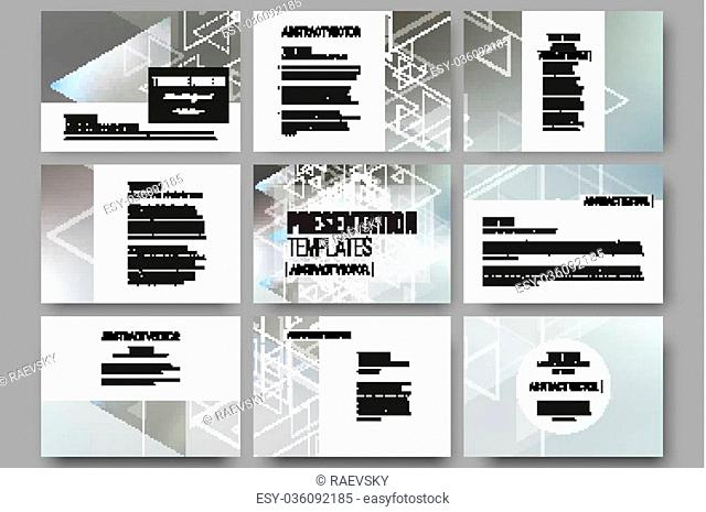 Set of 9 vector templates for presentation slides. Abstract blurred vector background with triangles, lines and dots