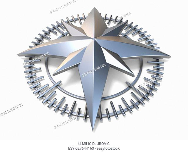Metallic compass rose 3D render illustration isolated on white background