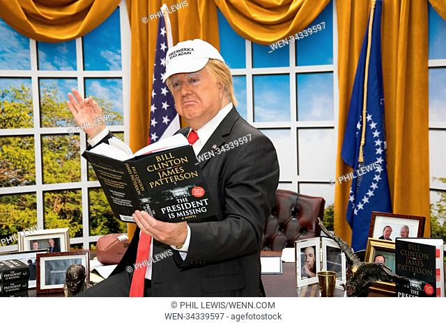 A 'President Trump' lookalike brings The Oval office to London's Waterloo Station to mark today's global release of James Patterson and Bill Clinton's...