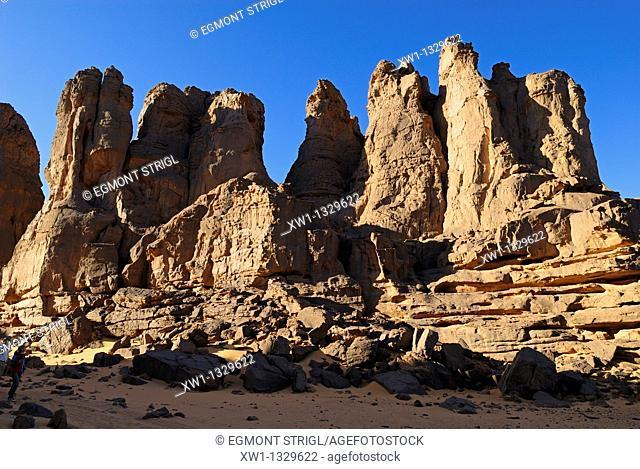 sandstone rock formation at El Ghessour, Tassili du Hoggar, Wilaya Tamanrasset, Algeria, Sahara, Africa