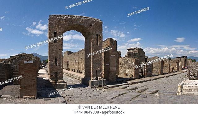 Italy, Europe, Arco Onorario, Pompei, Campania region, Excavations, archeology, romans, ruins, ancient, historic, hist