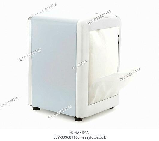 Paper napkin holder for restaurant on white background