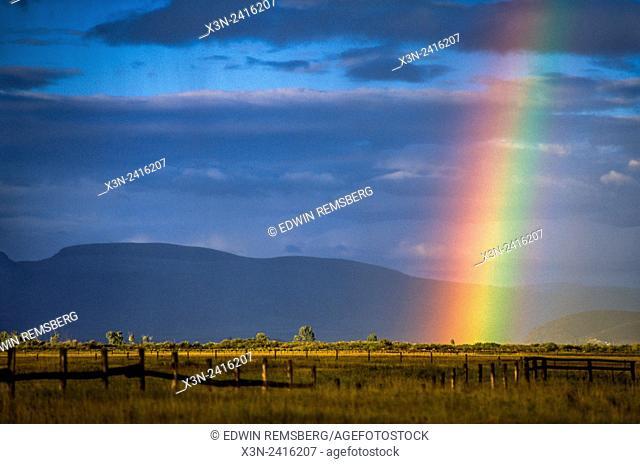 Montana, USA - Montana, USA - Rainbow over town of Dillon MT