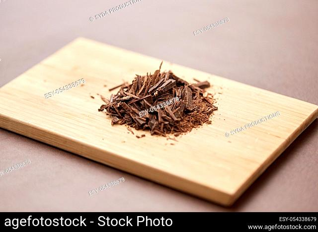 chocolate chips on wooden board