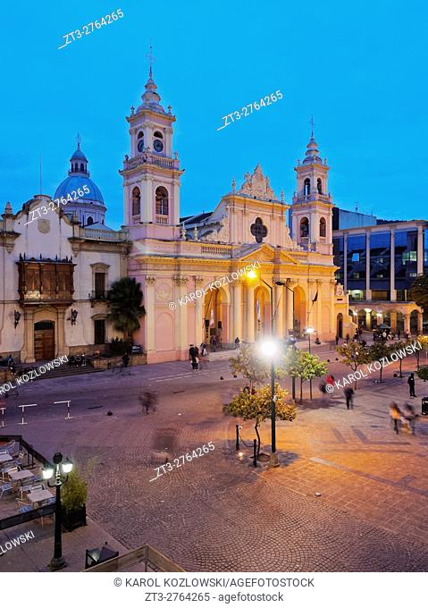 Argentina, Salta, Twilight view of the Cathedral Basilica