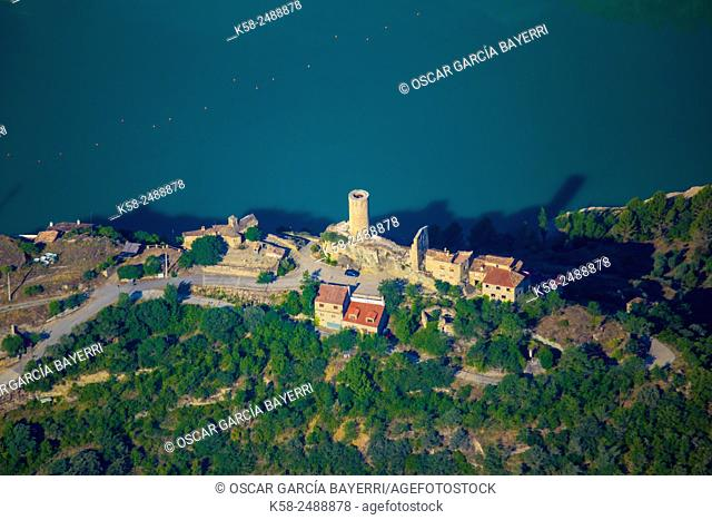 Aerial view of the castle of the Barony of Sant Oisme near the dam of Camarasa