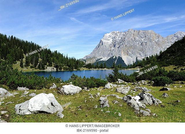 View across Seebensee Lake to Mt Zugspitze, Ehrwald, Tyrol, Austria, Europe, PublicGround