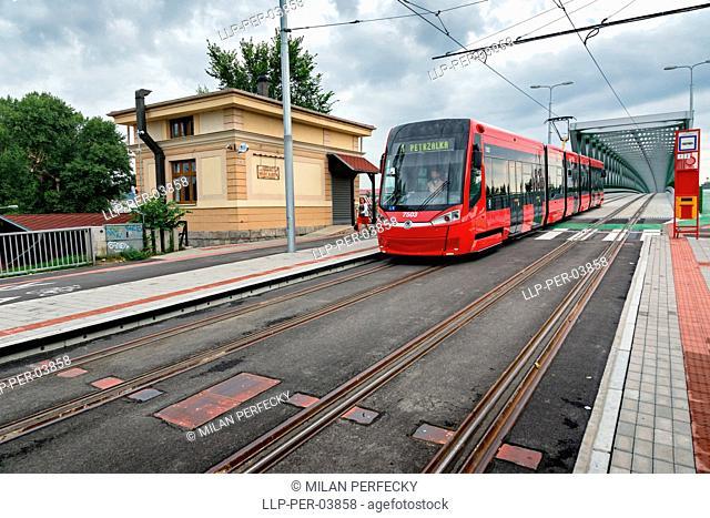 Tram on the bridge, Bratislava, Slovakia