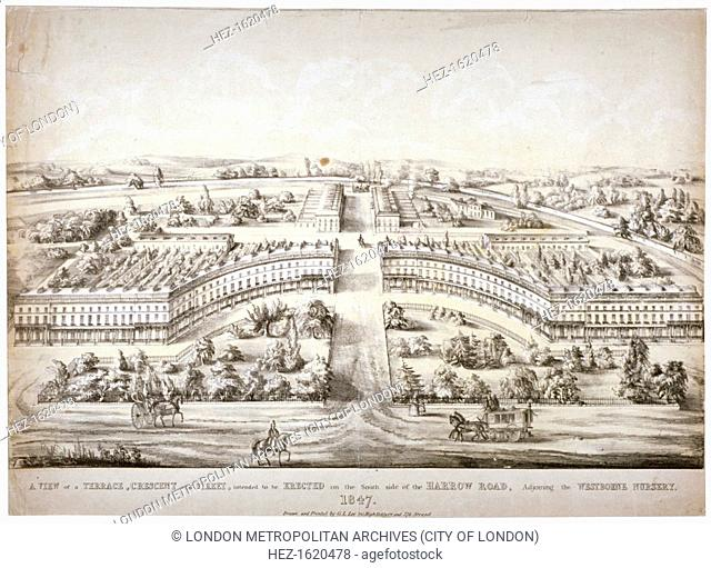 Proposed development off Harrow Road, Paddington, London, 1847. View of a terrace, crescent and street, intended to be erected on the south side of Harrow Road