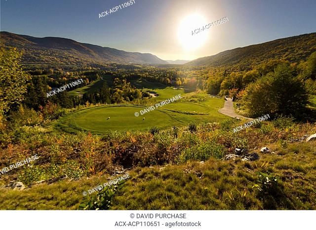 Scenic view of Humber Valley Resort golf course in the fall Western Newfoundland, Canada