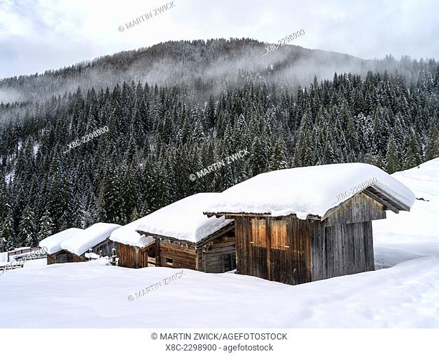 Valley Lesachtal during Winter, mountain huts called Alpe in deep snow. Europe, Central Europe, Austria, January