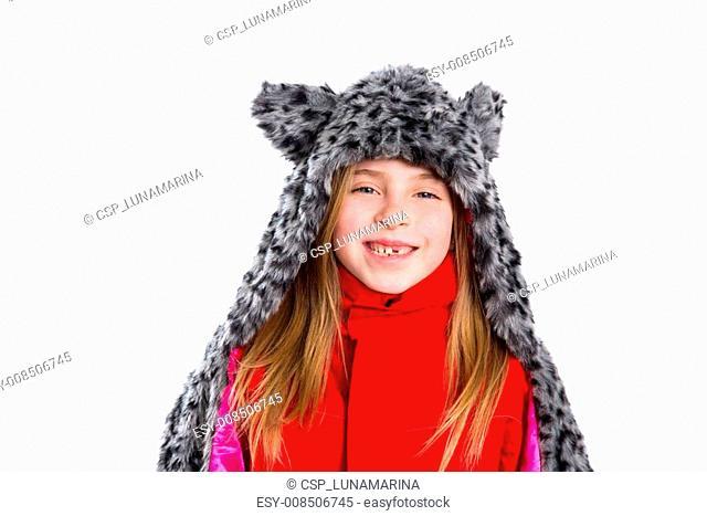 blond kid girl with winter gray feline fur scarf hat in white