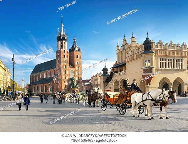 Cracow - St Mary's Church, Market Square, Poland, Europe