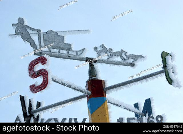 Signpost directions of the compass in the Antarctic winter