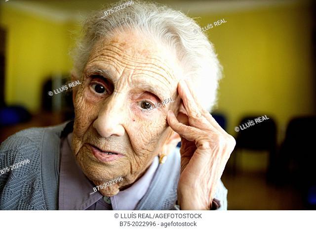 Portrait of a centennial woman in a elderly people home
