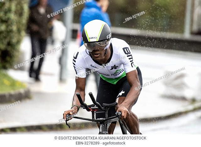 Nicholas Dlamini at Zumarraga, at the first stage of Itzulia, Basque Country Tour. Cycling Time Trial race