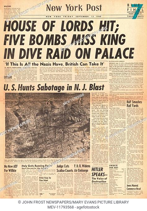 1940 New York Post front page reporting Buckingham Palace bombed in air raid on London