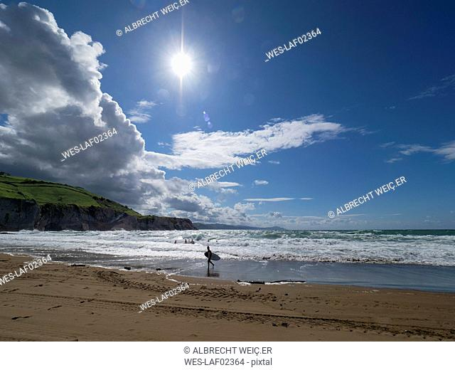 Scenic view of sea against sky during sunny day, Basque Coast Geopark, Spain