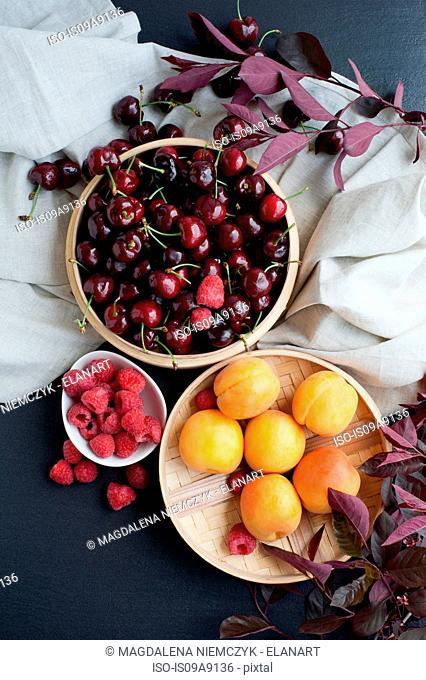 Still life of fresh fruits in bowls