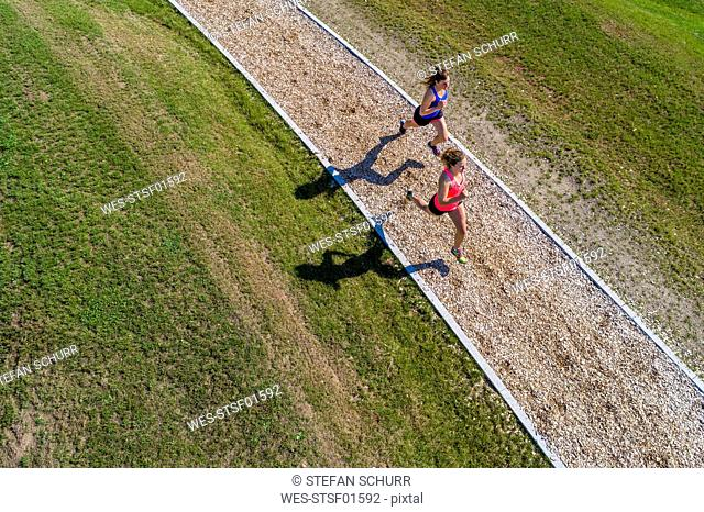 Aerial view of female joggers on woodchip trail