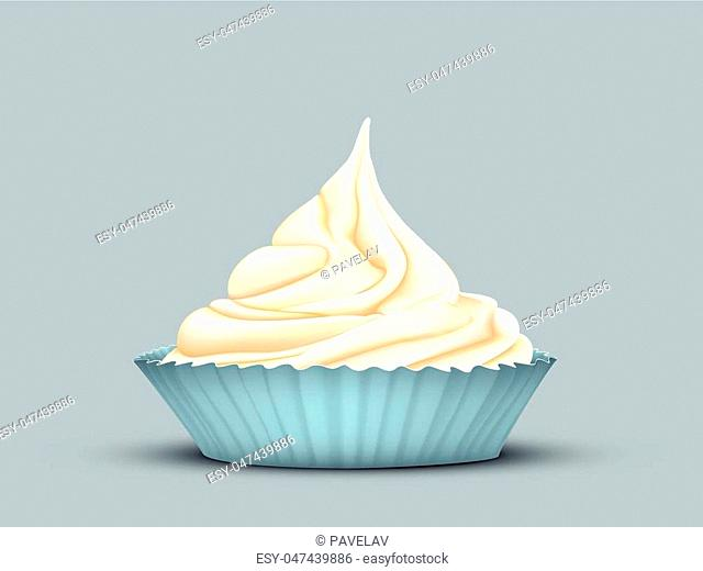 delicate twisted cream in the mould turquoise on grey-blue background
