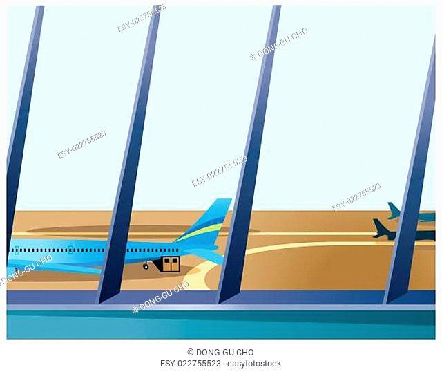 Airplane through window