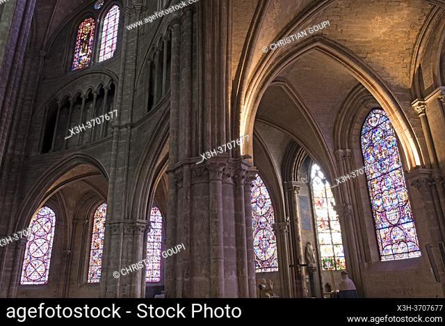 Stained glass windows of the ambulatory around the choir, Saint Stephen Cathedral, Bourges, Cher department, Province of Berry, Centre-Val de Loire region