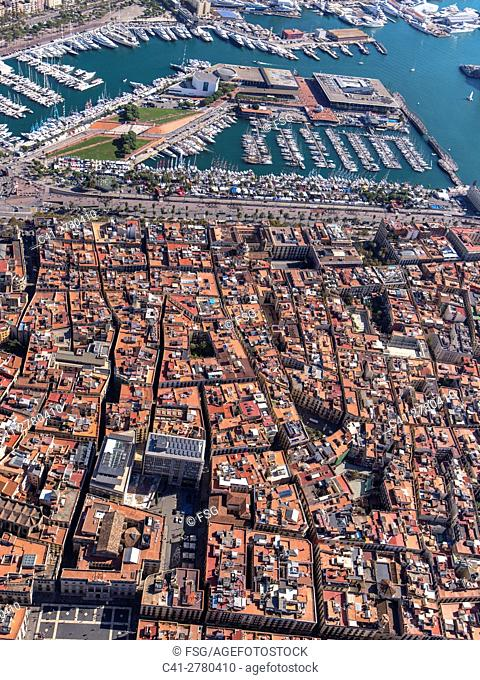 Aerial view of Ciutat Vella Quarter and sea port in Barcelona