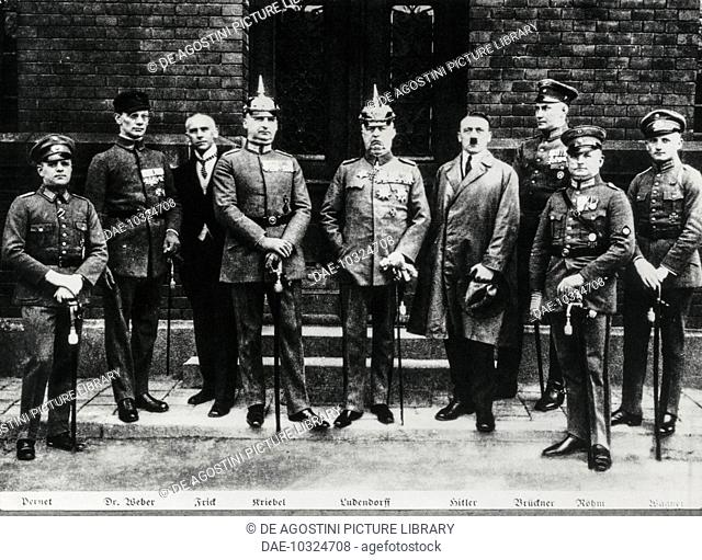 Adolf Hitler with his co-conspirators in the Munich Putsch, General Ludendorff on the right and Ernst Rohm on the left, 1923, Germany, 20th century