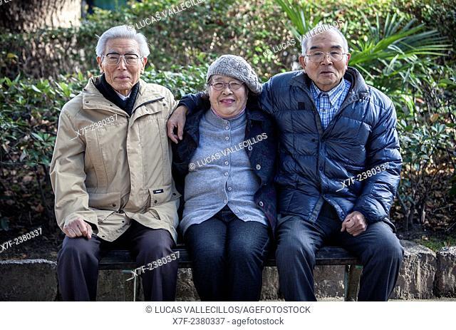 Hiroshima Atomic Bomb Survivors, from left to right: Miyoji Kawasaki 1929, Jyunko Kayasige 1940 and Yukio Yoshioka 1939, Hiroshima, Japan
