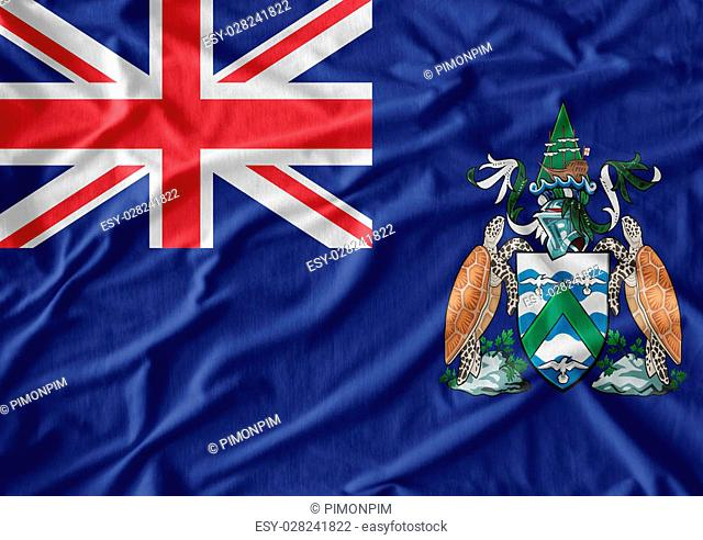Ascension Island flag pattern on the fabric texture