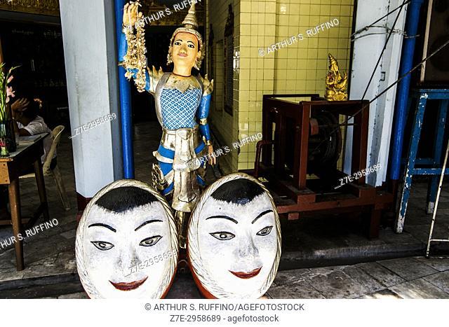 Bo Bo Gyi, guardian spirit (nat) represented as an elderly man (grandfather), Sule Pagoda, Yangon, Myanmar