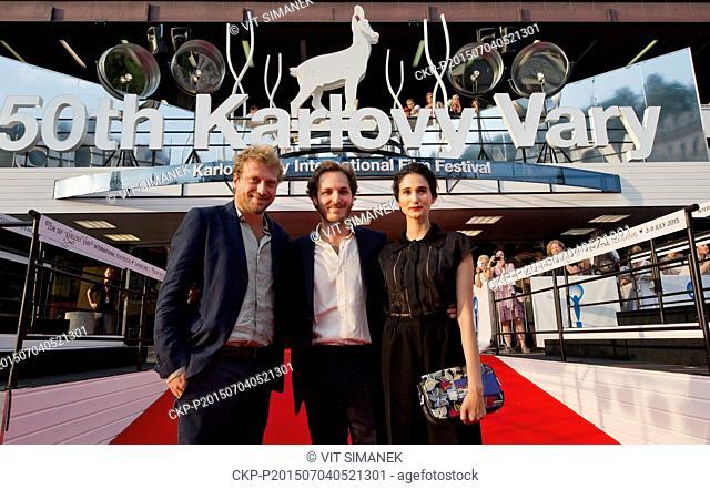 From left: Scriptwriter Carlo Salsa, director Ferdinando Cito Filomarino and actress Linda Caridi present movie Antonia during the 50th International Film...