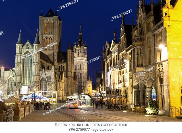 old town with Saint Nicholasâ. . church and Belfry at night, Ghent, Belgium