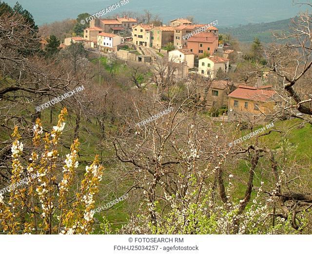 Tuscany, Tepolini, Italy, Toscana, Europe, Scenic view of the village of Tepolini in Tuscany in the spring