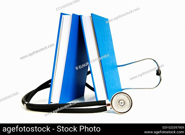 Concept of medical education with book and stethoscope