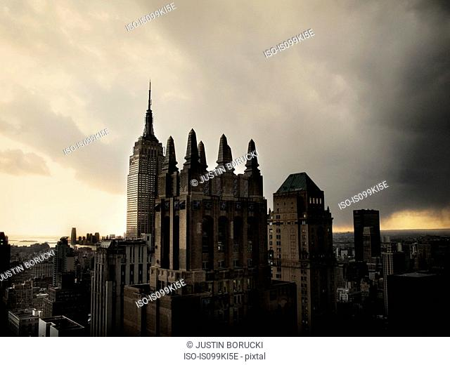 New York City with gloomy sky