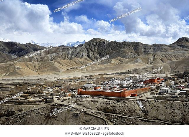 Nepal, Gandaki zone, Upper Mustang (near the border with Tibet), the walled city of Lo Manthang, the historical capital of the Kingdom of Lo
