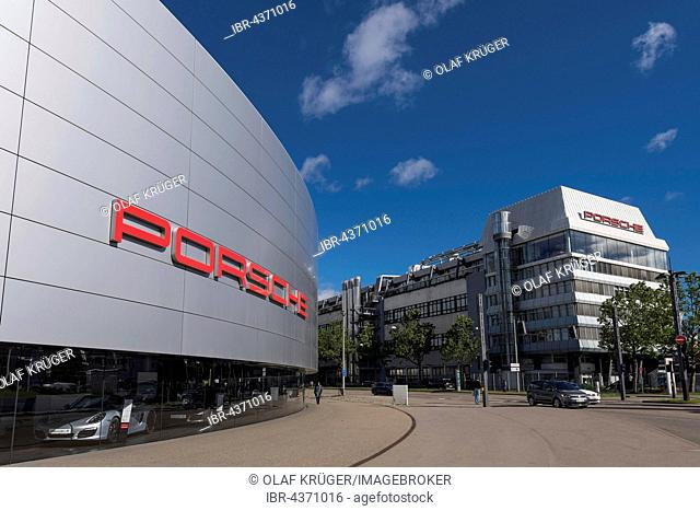 Porsche Center and Porsche factory, Porscheplatz, Zuffenhausen, Stuttgart, Baden-Württemberg, Germany